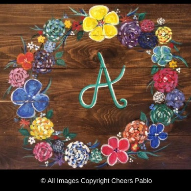 Monogram Flowers - Wood