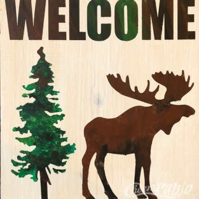 12x12 Welcome Moose