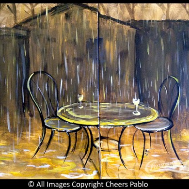 Table in the Rain: Couples Canvas