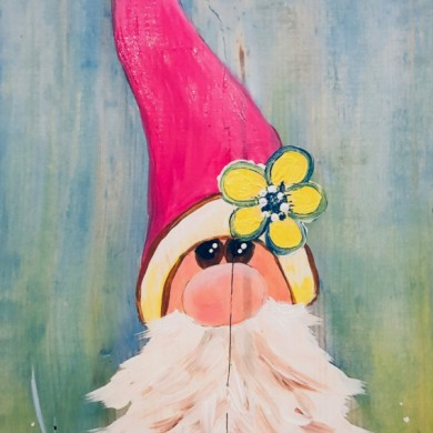 Garden Gnome on Wood 12x24